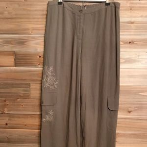 J. Jill Olive Small Crop Pants Drawstring Legs